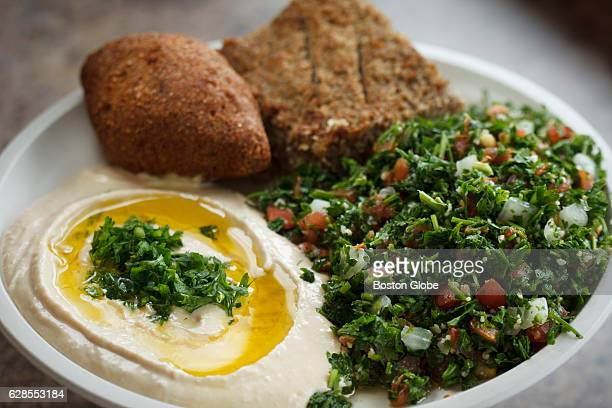 Hummus, baked and fried kibbe, and tabouli are pictured at Korbani's Bakery, a family run Lebanese bakery and deli, in Methuen, MA on Jun. 16, 2015.