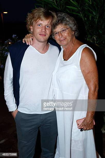Humorist Alex Lutz and President of Ramatuelle Festival Jacqueline Franjou attend the 'La colere du Tigre' Theater play during the 31th Ramatuelle...