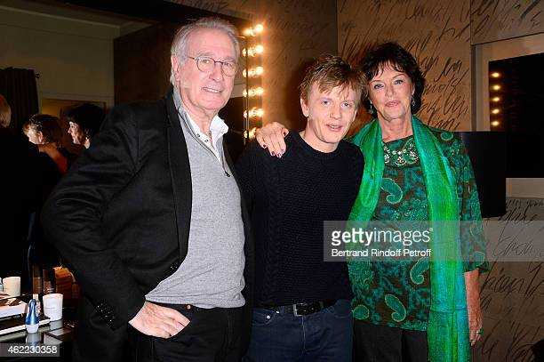 Humorist Alex Lutz standing between Actors from the TV Series 'Une Famille formidable' Bernard Le Coq and Anny Duperey attend Alex Lutz One man Show...