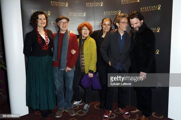Humorist Armelle and members of documentary jury Karim Dridi Andrea Ferreol Fabienne Godet Nils Tavernier Sagamore Stevenin attend Valenciennes Film...
