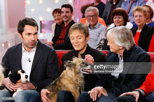 Humorist Ben and his Dog Patrick Loiseau the Dog Chance and Dave attend the 'Vivement Dimanche' French TV Show at Pavillon Gabriel on February 24...