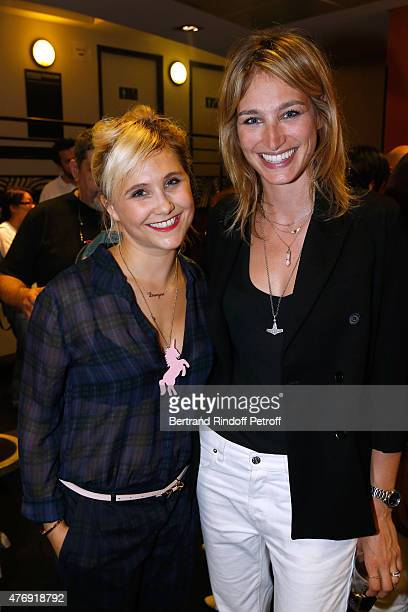 Humorist Berangere Krief poses Backstage with Pauline Lefevre after she Performed at L'Olympia on June 12 2015 in Paris France