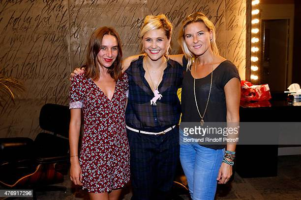 Humorist Berengere Krief poses Backstage with Singer of Pop Group Elephant Lisa Wisznia and Granddaughter by marriage of Sean Connery Journalist...