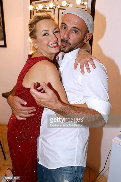 Humorist Christelle Chollet with her husband author and stage director Remy Caccia after her one woman show The New Show written and set stage by...