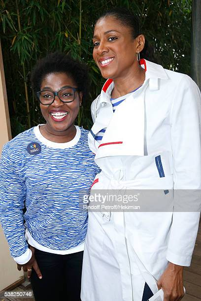 Humorist Claudia Tagbo and athlete MarieJose Perec attend Day Fifteen Men single's Final of the 2016 French Tennis Open at Roland Garros on June 5...