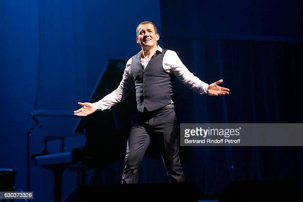 Humorist Dany Boon acknowledges the applause of the audience at the end of the triumph of his Dany De Boon Des HautsDeFrance Show at L'Olympia on...