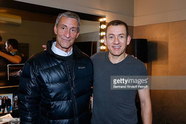 Humorist Dany Boon and actor Francois Levantal pose Backstage after the triumph of the Dany De Boon Des HautsDeFrance Show at L'Olympia on December...