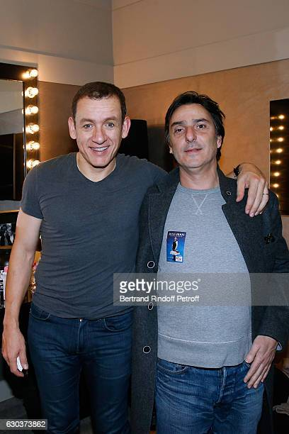 Humorist Dany Boon and actor Yvan Attal pose Backstage after the triumph of the 'Dany De Boon Des HautsDeFrance' Show at L'Olympia on December 21...