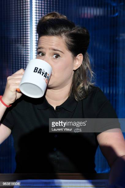 Humorist Elodie Poux attends 'La Bataille du Rire' TV Show at Theatre de la Tour Eiffel on June 25 2018 in Paris France