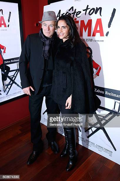 Humorist Franck Dubosc and his wife Daniele attend the 'Arrete Ton Cinema ' Paris Premiere at Publicis Champs Elysees on January 6 2016 in Paris...