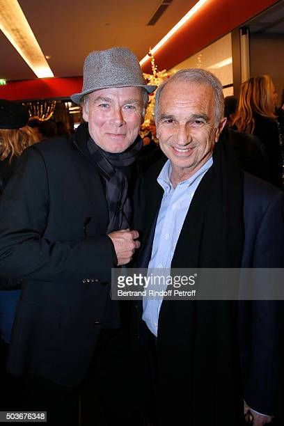 Humorist Franck Dubosc and President of the 'Cesar' the French Academy Awards Alain Terzian attend the 'Arrete Ton Cinema ' Paris Premiere at...