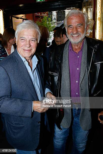 Humorist Guy Bedos and Actor JeanPaul Belmondo attend the 2015 Public performance of 'L'Entree Des Artistes' Held at Theatre de la Gaite Montparnasse...