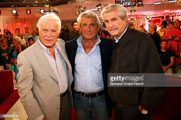 Humorist Guy Bedos main guest of the show Michel Boujenah and director Claude Lelouch attend the 'Vivement Dimanche' French TV Show at Pavillon...
