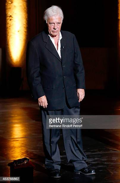 Humorist Guy Bedos says 'Happy Birthday to Ramatuelle Festival' during the 30th Ramatuelle Festival Day 6 on August 6 2014 in Ramatuelle France