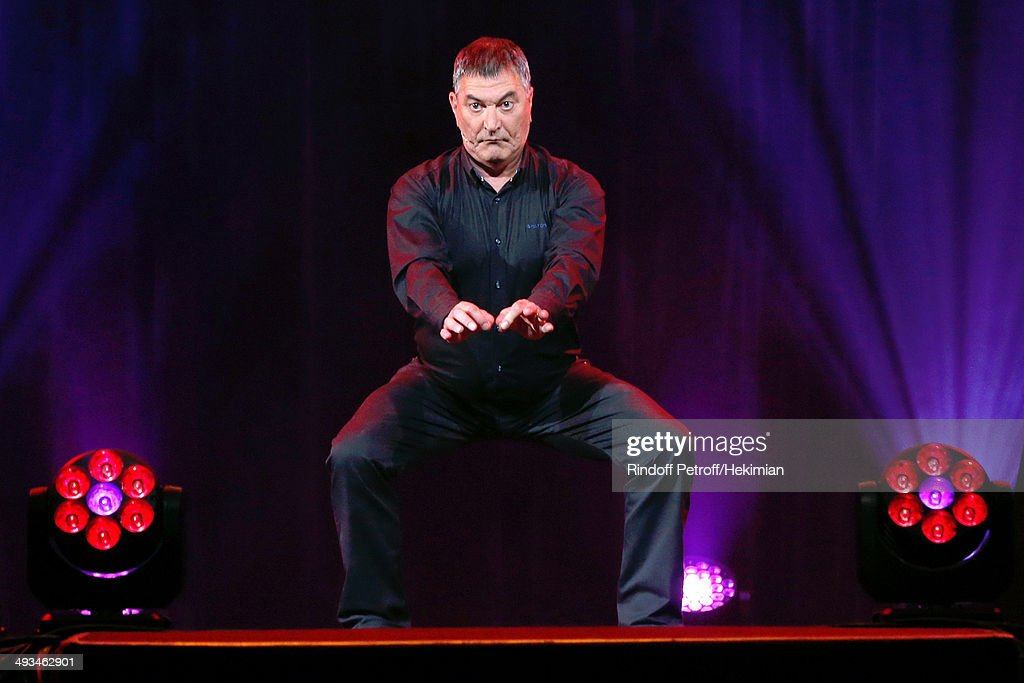 Humorist Jean-Marie Bigard performs in his One Man Show 'Bigard Fete Ses 60 Ans' at Le Grand Rex on May 23, 2014 in Paris, France.