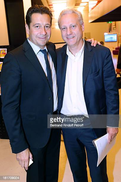 Humorist Laurent Gerra and General Manager of TV5 Monde Yves Bigot attend 'L'Escalier De Fer' with Laurent Gerra Private Screening in Paris on...