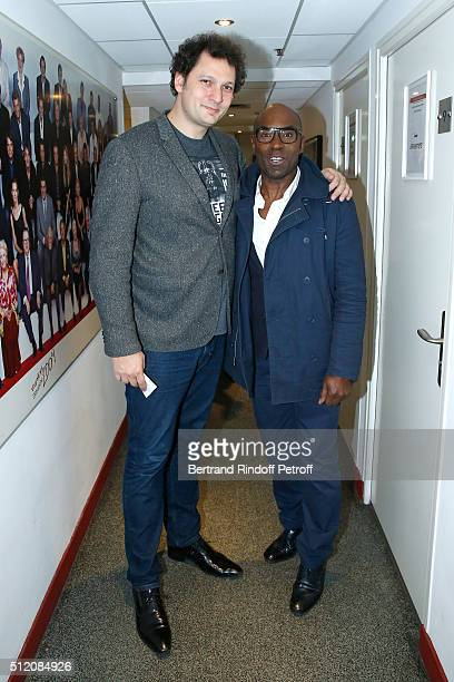 Humorist Magician Eric Antoine and Director and Actor Lucien JeanBaptiste attend the 'Vivement Dimanche' French TV Show at Pavillon Gabriel on...