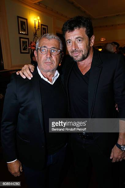Humorist Michel Boujenah and singer Patrick Bruel attend the Tout ce que vous voulez Theater Play at Theatre Edouard VII on September 19 2016 in...
