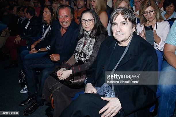 Humorist Michel Leeb Guest and Singer Serge Lama attend the Concert of singer Charles Aznavour at Palais des Sports on September 15 2015 in Paris...