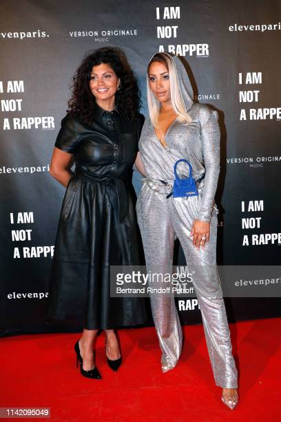 Humorist Nawell Madani and Demdem attend the I am not a Rapper Capsule Collection Launch Party Photocall on April 11 2019 in Paris France