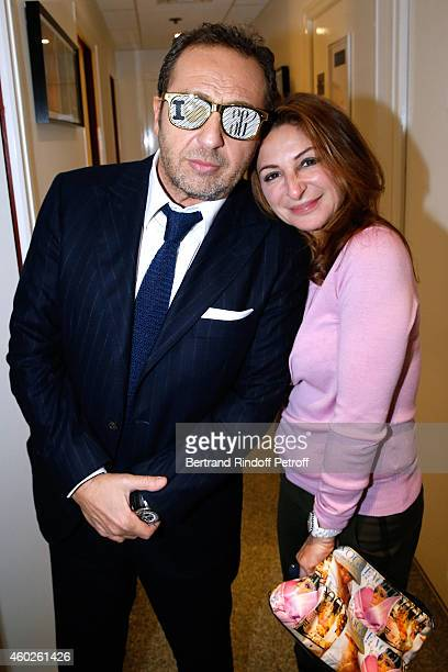 Humorist Patrick Timsit and Sarah Guetta attend the 'Vivement Dimanche' French TV at Pavillon Gabriel on December 10 2014 in Paris France