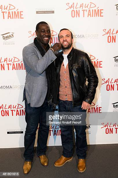 Humorist Sami Ameziane aka Comte de Bouderbala and actor Jacky Ido pose during the premiere of 'Salaud on t'aime' directed by French director Claude...