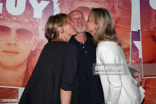 Humorist Sophie Mounicot actor Laurent Spielvogel and actress Catherine Marchal attend the 'Guy' Paris Premiere at Gaumont Capucines on August 28...