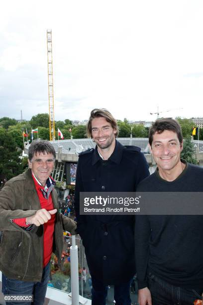 Humorist Tex Swimmer Camille Lacourt and journalist Alexandre Boyou attend the 2017 French Tennis Open Day Ten at Roland Garros on June 6 2017 in...