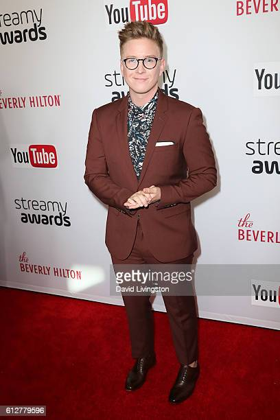 Humorist Tyler Oakley arrives at the 2016 Streamy Awards at The Beverly Hilton Hotel on October 4 2016 in Beverly Hills California