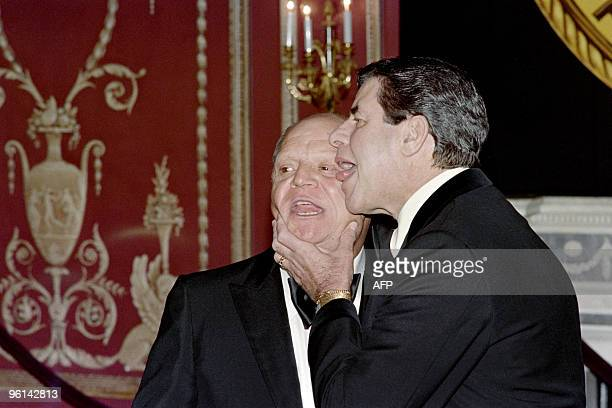 US humorists and comedian Jerry Lewis and Don Rickles joke on May 15 1988 before the New York Friars Club Tribute to Barbara Sinatra wife of singer...
