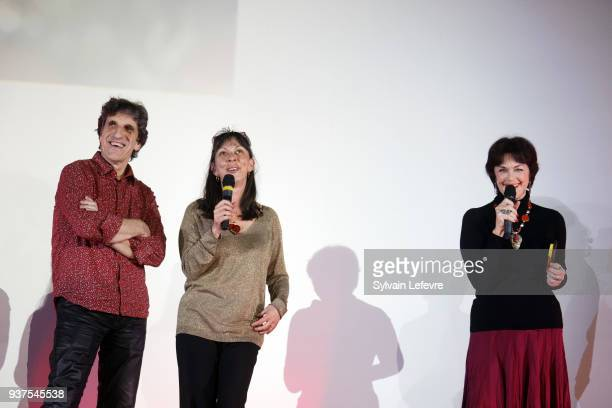 Humorists Corinne and Gilles Benizio aka Shirley et Dino and Anny Duperey attend the tribute to Anny Duperey during the closing ceremony of...
