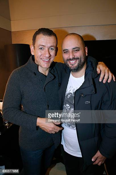 Humorists Dany Boon and Jerome Commandeur pose Backstage after the triumph of the Dany De Boon Des HautsDeFrance Show at L'Olympia on December 15...