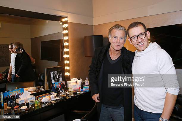 Humorists Franck Dubosc and Dany Boon pose Backstage after the triumph of the 'Dany De Boon Des HautsDeFrance' Show at L'Olympia on December 2 2016...