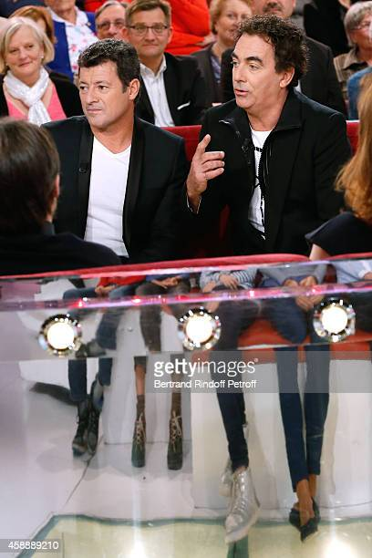 Humorists 'Les Chevaliers du fiel' Francis Ginibre and Eric Carriere present their movie 'Repas de famille' during the 'Vivement Dimanche' French TV...