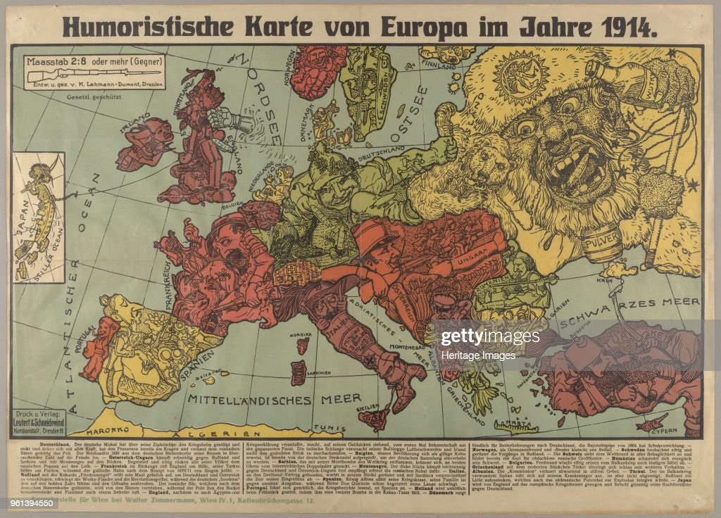 Humorous Europe Map In 1914 1914 Private Collection News Photo