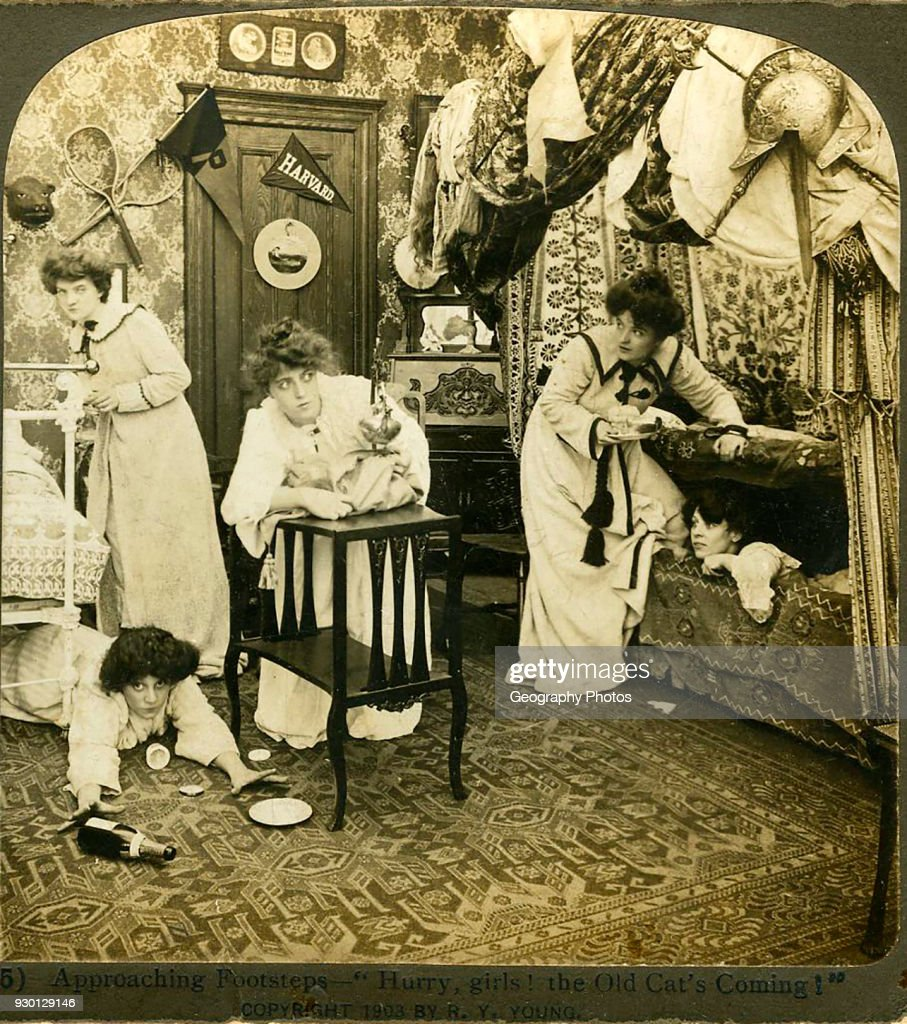 Humorous image of Midnight pranks of American college women 1903 about to be caught in the act, Harvard University : News Photo