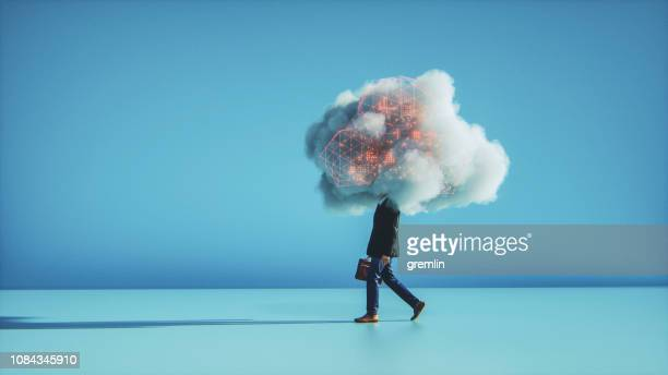 humorous mobile cloud computing conceptual image - cloud computing stock pictures, royalty-free photos & images
