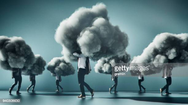 humorous mobile cloud computing conceptual image - cloud computing stock photos and pictures