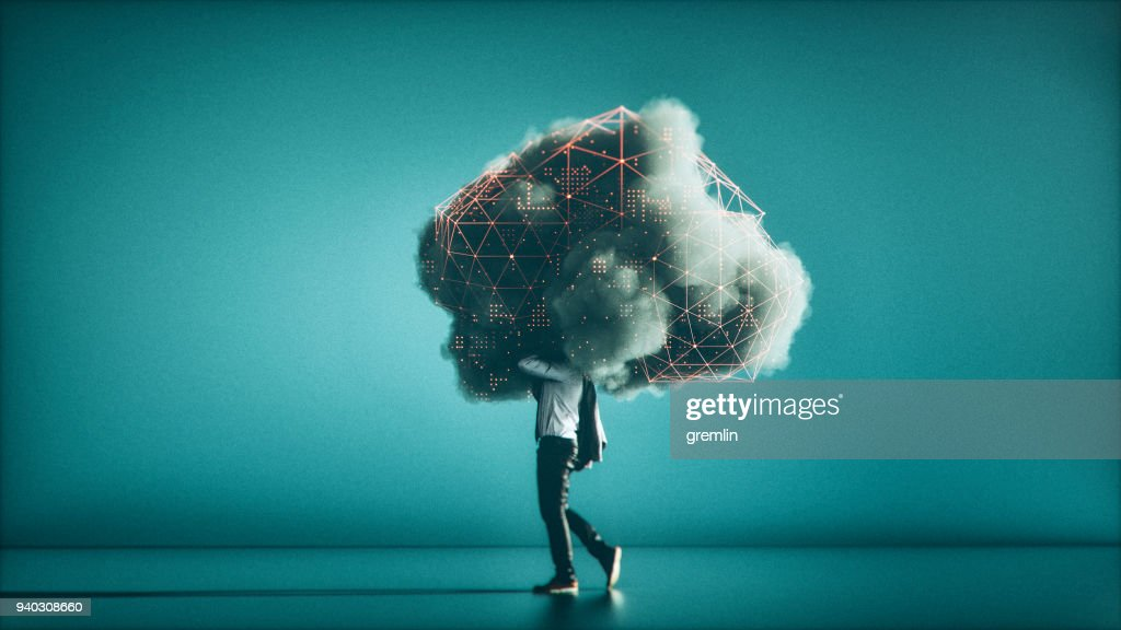 Humorous mobile cloud computing conceptual image : Stock Photo