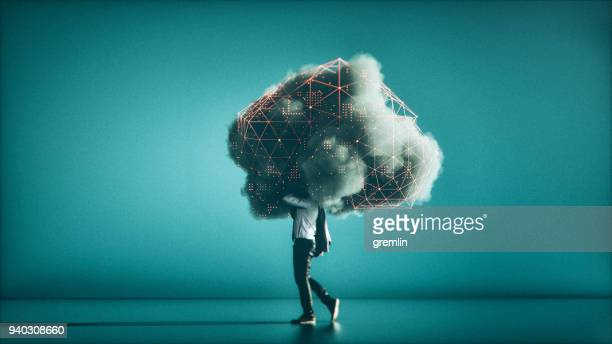 humorous mobile cloud computing conceptual image - futuristic stock pictures, royalty-free photos & images