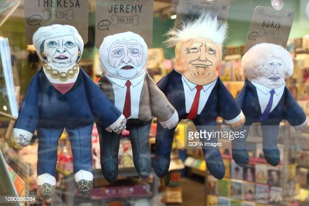Humorous puppets of politicians are seen on sale at the London shop Theresa May Jeremy Corbyn Donald Trump and Boris Johnson