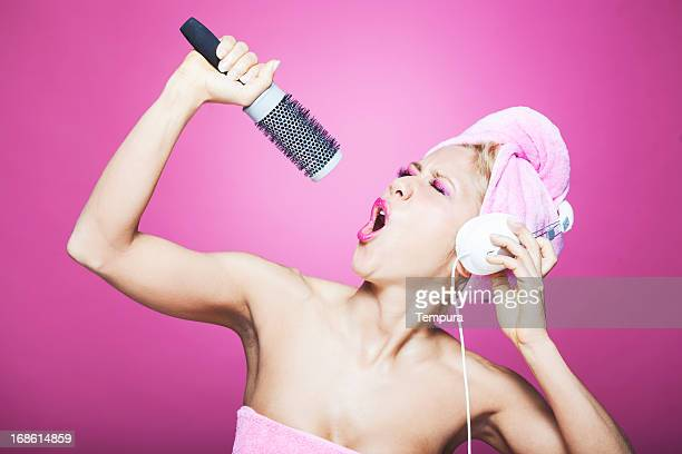 Humorous Singing in the Bathroom with a Hairbrush