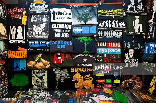 humorous t-shirts for sale in thailand - graphic t shirt stock pictures, royalty-free photos & images