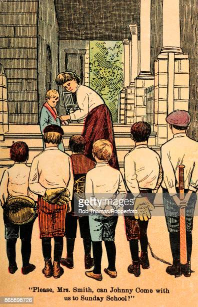 A humorous vintage illustration featuring a group of young boys holding their baseball equipment behiind them asking the mother of one of their...