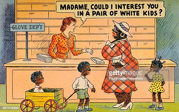 A humorous vintage postcard with a politically incorrect message featuring a black mother and her three children being offered white kid gloves by a...
