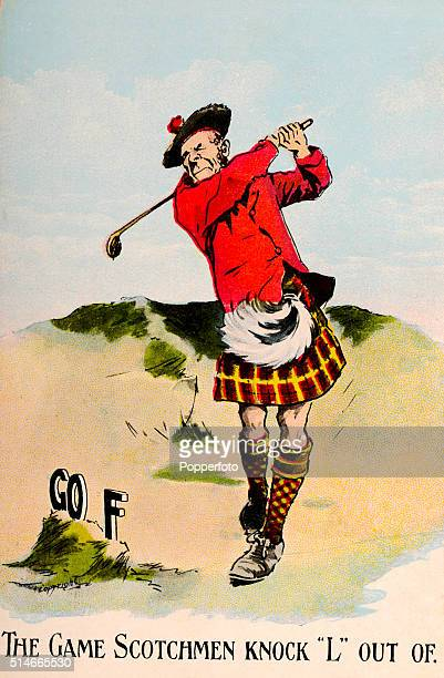 A humorous vintage postcard illustration featuring a Scotsman in a kilt knocking the L out of GOLF on a links course circa 1914
