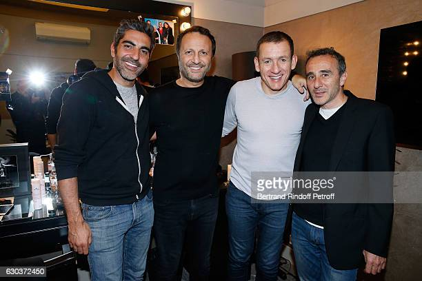 LR Humorsits Ary Abittan Arthur Essebag Dany Boon and Elie Semoun pose Backstage after the triumph of the 'Dany De Boon Des HautsDeFrance' Show at...