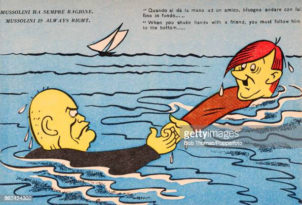 A humourous postcard illustration featuring caricatures of Benito Mussolini and Adolf Hitler keeping each other afloat in the middle of the ocean...