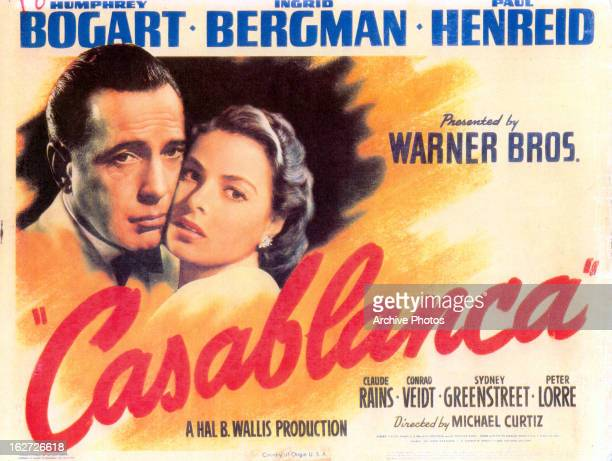 Humphrey Bogart and Ingrid Bergman in movie art for the film 'Casablanca', 1942.