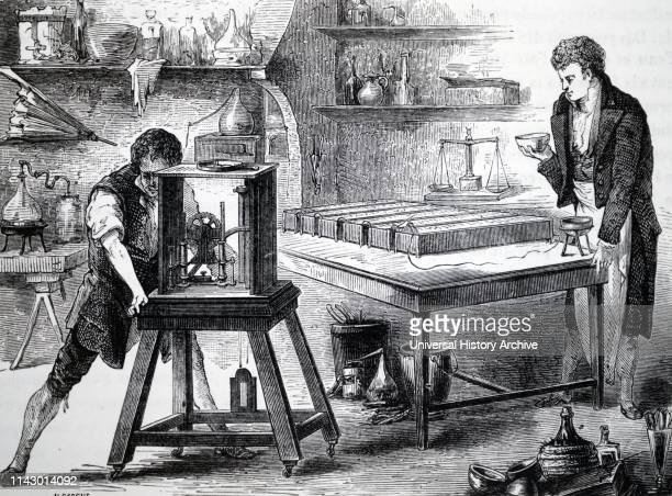 Humphry Davy using electrical decomposition to discover potassium and sodium
